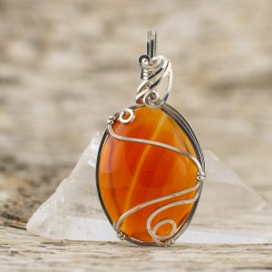 Orange Carnelian Swirl Pendant