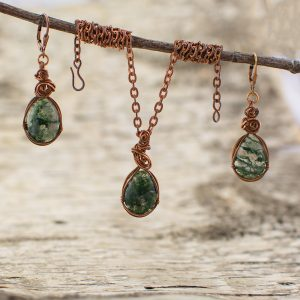 Moss Agate Stone Pendant and Earrings Set