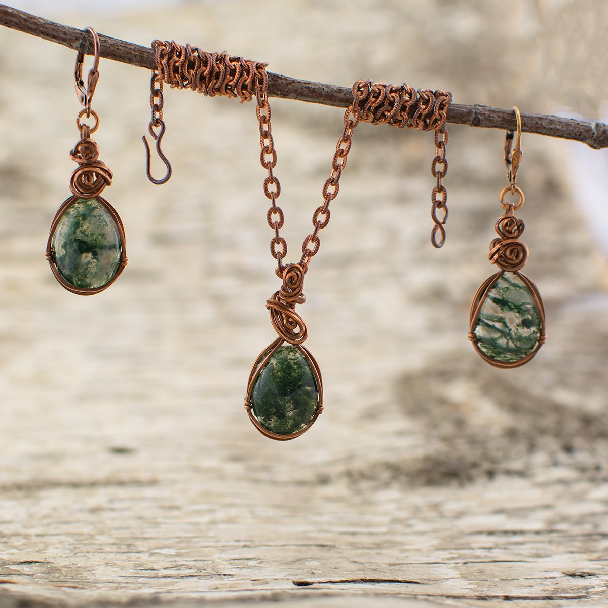 Moss Agate Stone Pendant and Earrings Set
