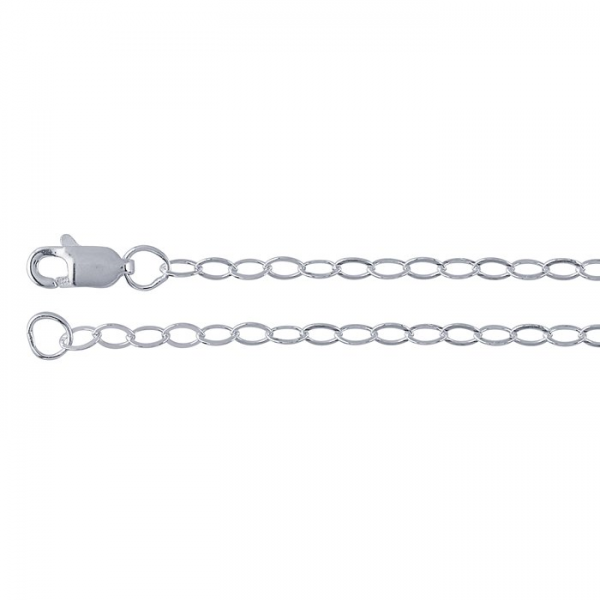 Sterling Silver 2.3mm Flat Oval Cable Chain with Lobster Clasp