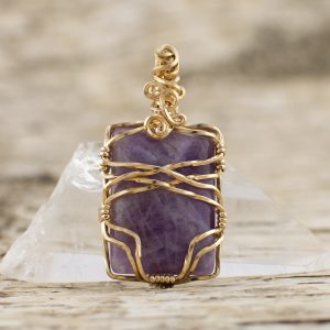 Purple Amethyst Rectangle Pendant