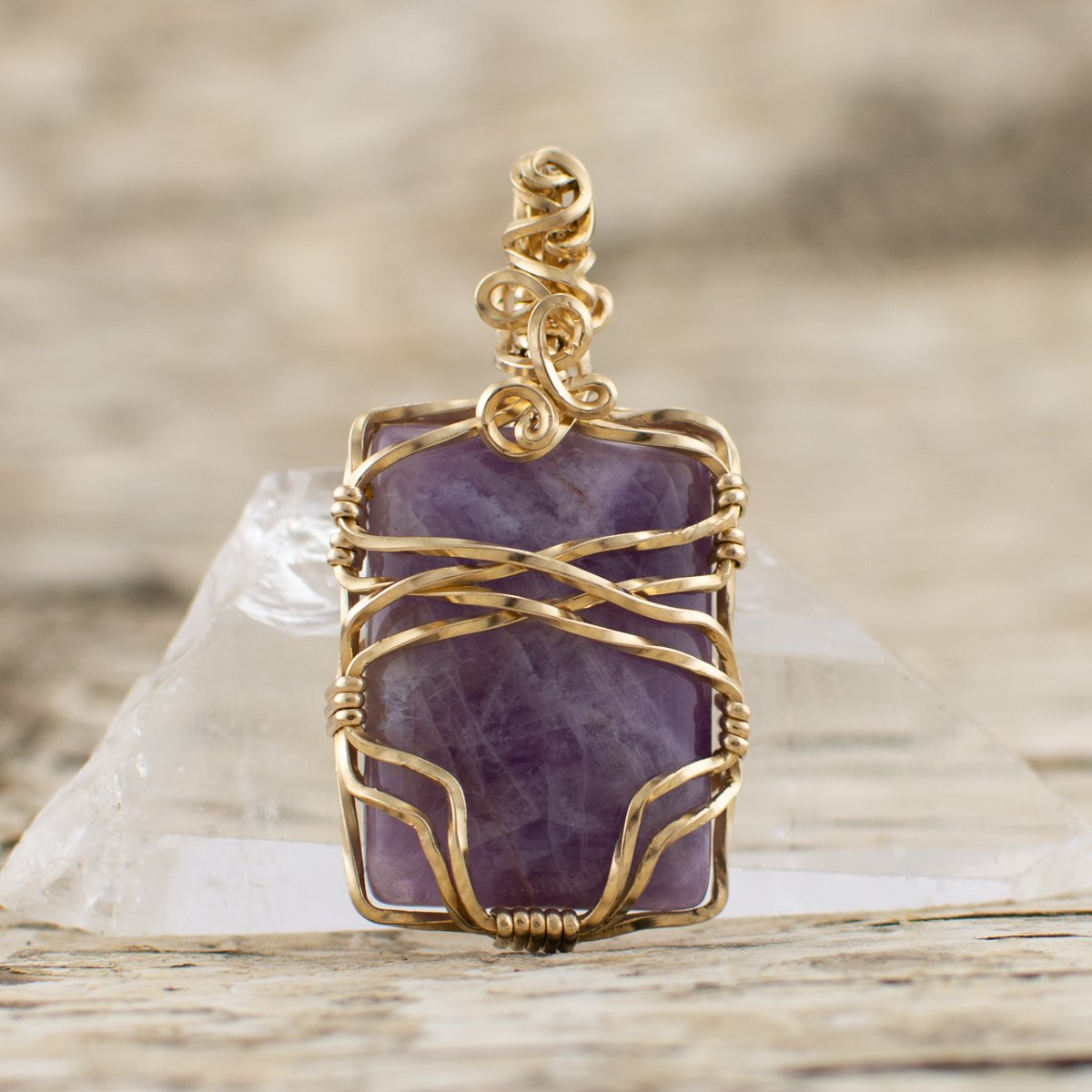 Purple Amethyst Rectangle Pendant