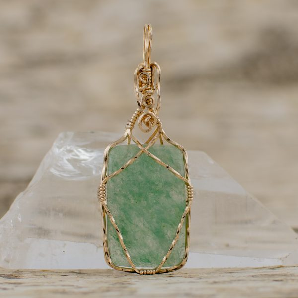 Green Aventurine Gemmy Heart Centered Pendant
