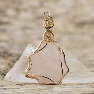 Quartz Rose Raw Pendant front view