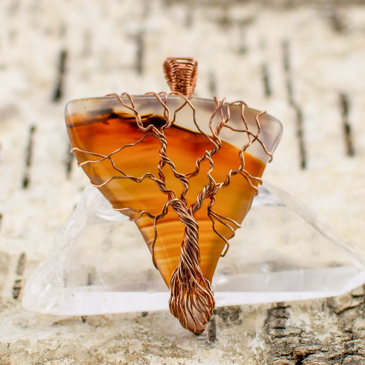 Tree of Life Montana Agate Pendant Front View