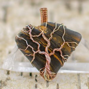 Tree of Life Tiger Iron Pendant Front