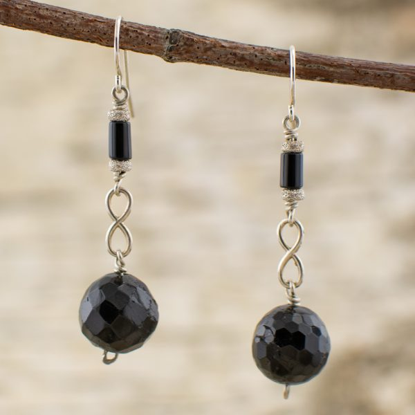 Black Tourmaline and Onyx Infinity Sterling Silver Earrings