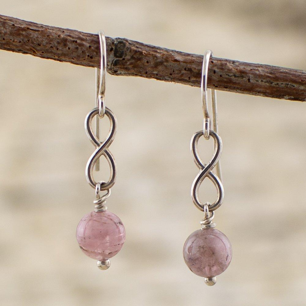 Pink Tourmaline Infinity Earrings Lifestyle Main Image