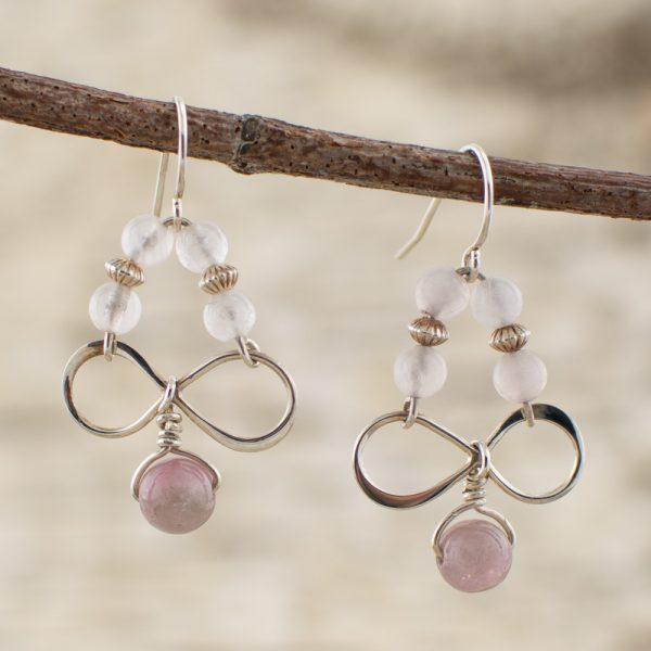 Rose Quartz and Pink Tourmaline Infinity Earrings