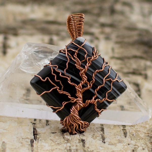 Tree Sardonyx Square Pendant main image