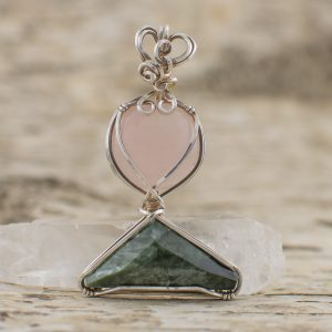 Rose Quartz Seraphinite Combination in Sterling Silver Pendant