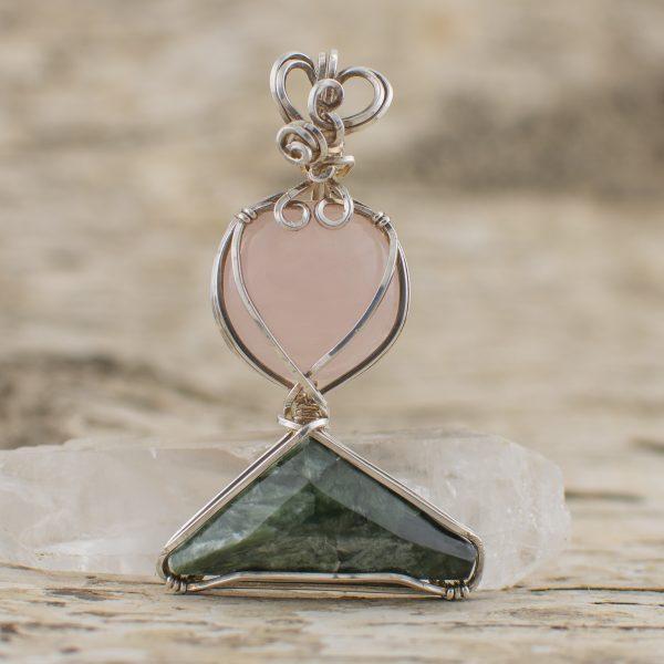 Rose Quartz Seraphinite Combination in Sterling Silver Pendant