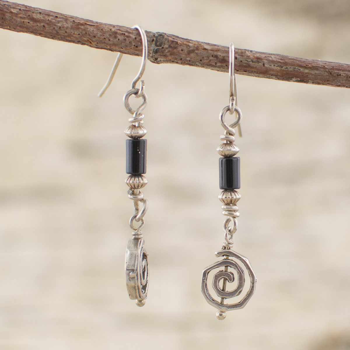 Onyx Sterling Silver Swirl Dangle Earrings for Focus