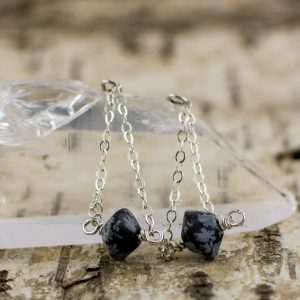 Snowflake Obsidian Chain Dangle Natural Protection Earrings main image