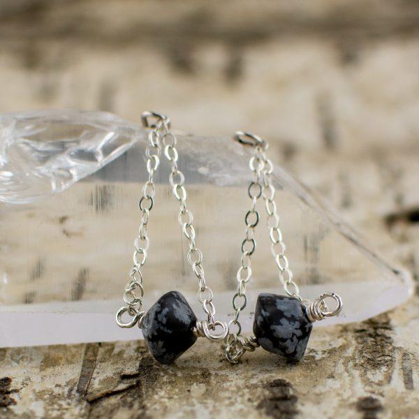 Snowflake Obsidian Chain Dangle Natural Protection Earrings main image