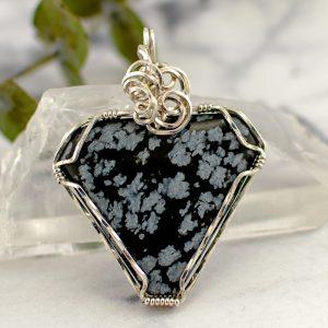 Snowflake Obsidian Triangle Pendant main image