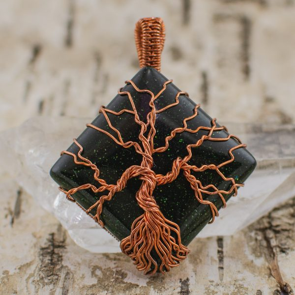 Tree of Life Green Goldstone Healing Jewelry front view