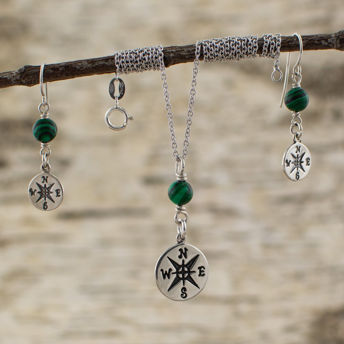 Compass Malachite Pendant and Earrings Set front view