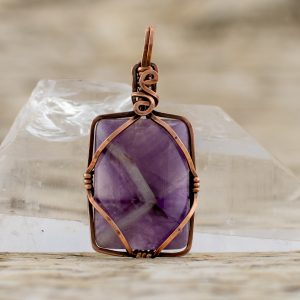 Diamond Within Pendant Amethyst in Copper
