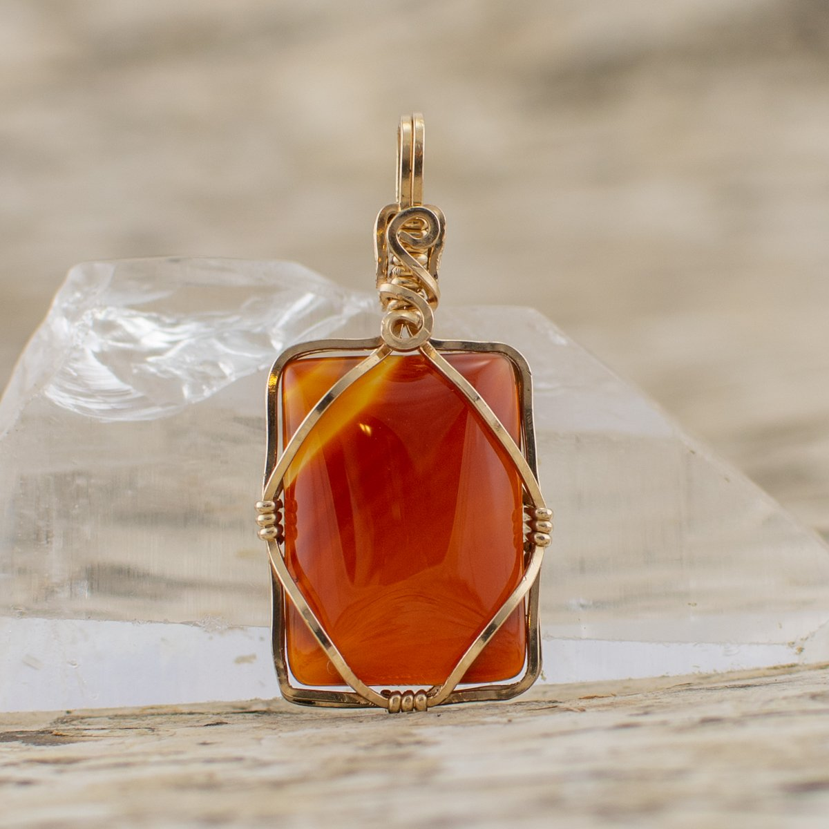 Diamond Within Pendant Orange Stone in Gold