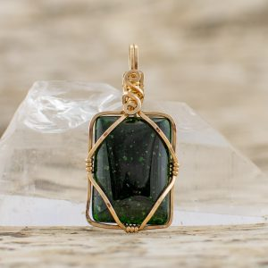 Diamond Within Pendant Green Goldstone in Gold