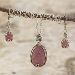 Rhodonite Pendant and Earrings Set