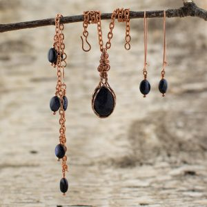 Blue Goldstone Sparkly Space Bracelet Necklace Earrings
