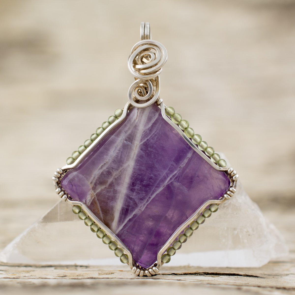 The Shield Pendant with Amethyst and Peridot