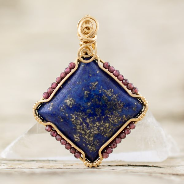 The Shield Pendant with Lapis and Garnet