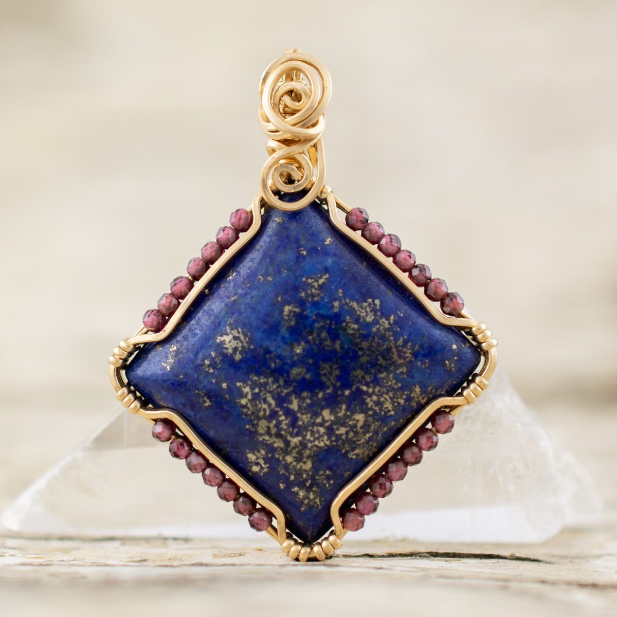 powerful protection amulet with Lapis and Garnet