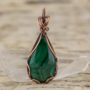 Malachite Teardrop Pendant Front View