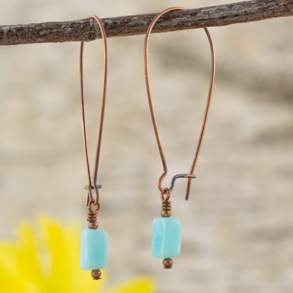 Clear Skies Blue Opal Earrings with yellow daisy