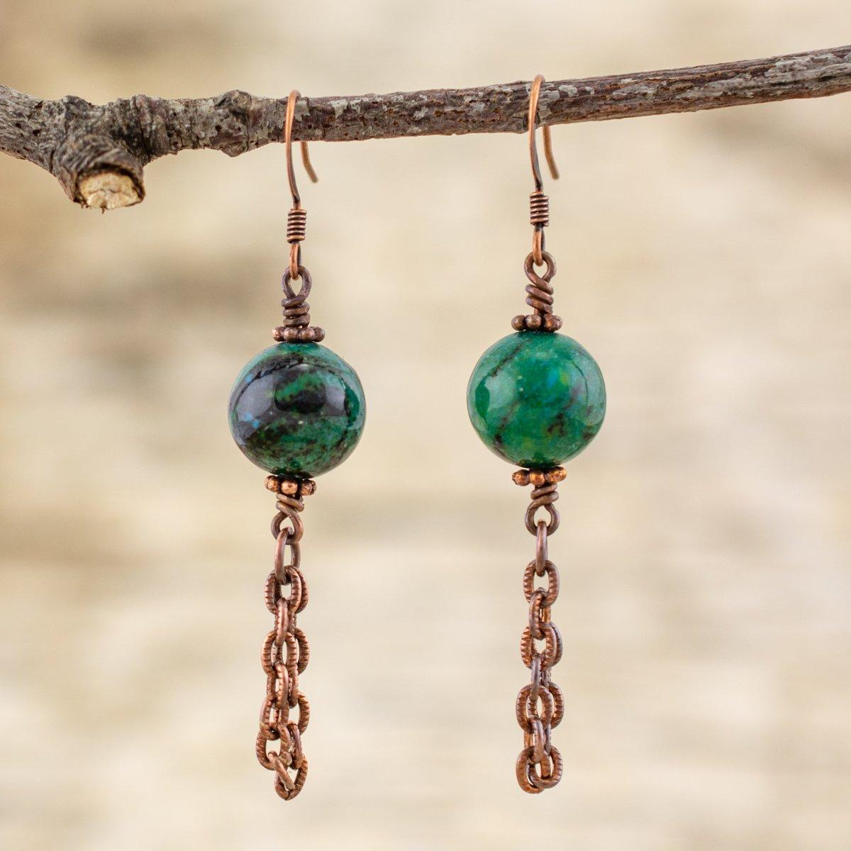 Chrysocolla Chain Dangle Earrings
