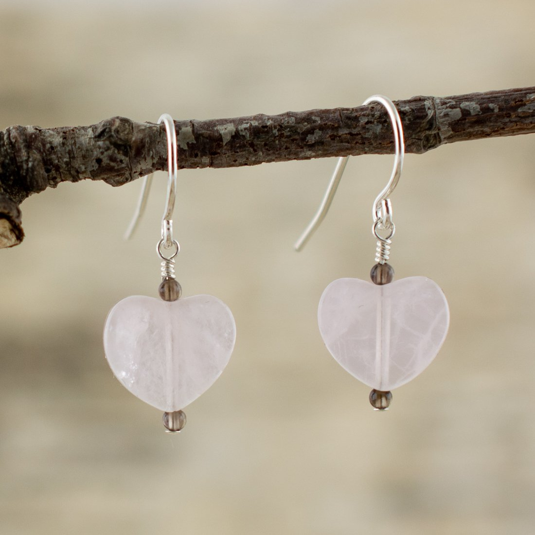 Listen to your Heart Rose & Smoky Quartz Earrings