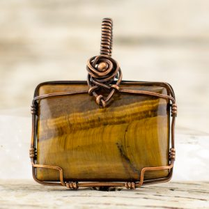 Gold Tiger Eye Pendant wire wrapped in copper