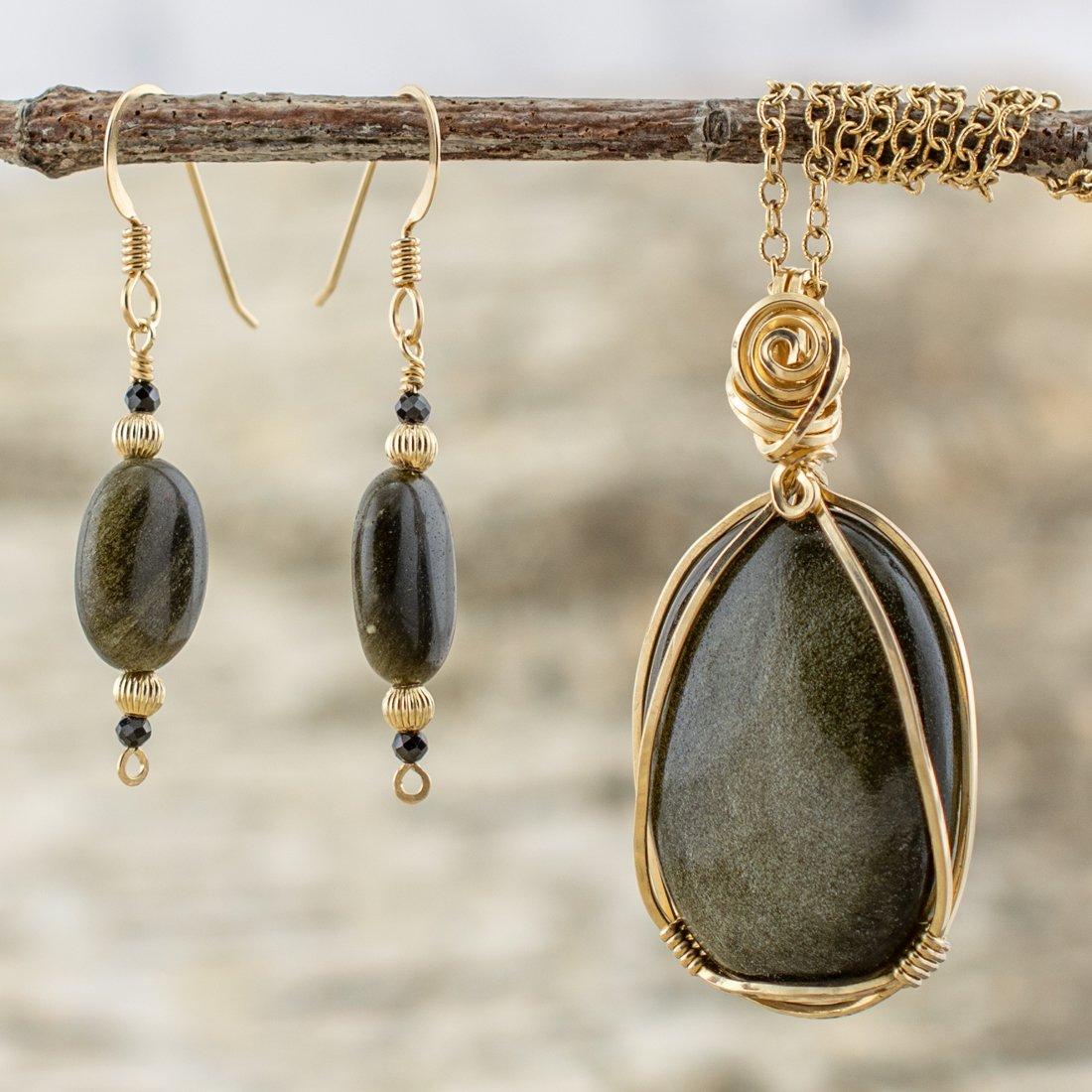 sheen obsidian jewelry set