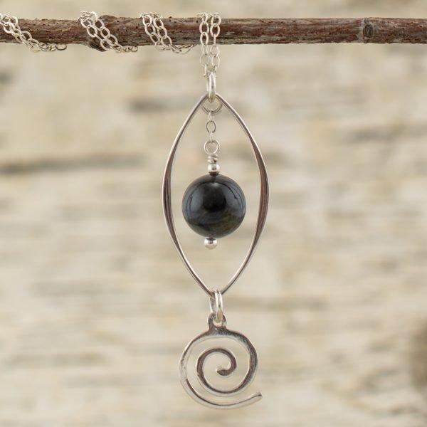 blue tiger eye pendant