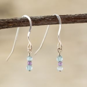 amethyst and blue apatite small dangling earrings
