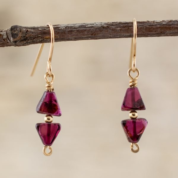 Garnet Double Triangle Earrings
