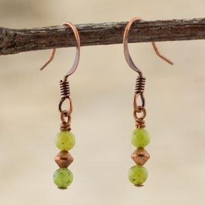 Jade Tiny Copper Earrings