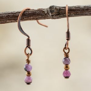 black lace ruby earrings