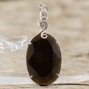 black tektite stone necklace